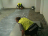 Laying adhesive and tiles